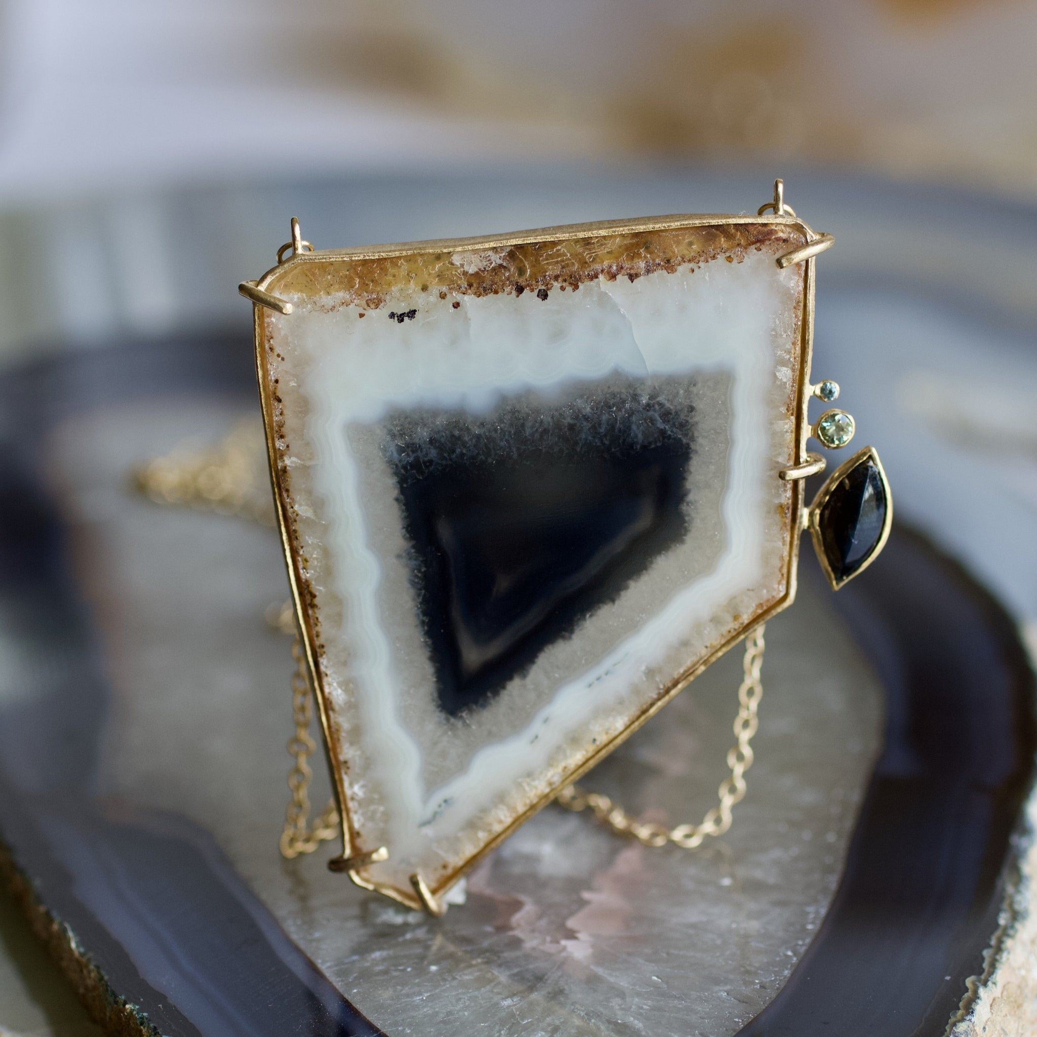 Polyhedroid Agate Pendant, Handmade in 14k Gold (One-of-a-Kind)