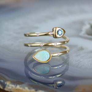 Diamond Wrap Ring, Montana Sapphire and Opal, Handmade in 14k Gold (Customizable)