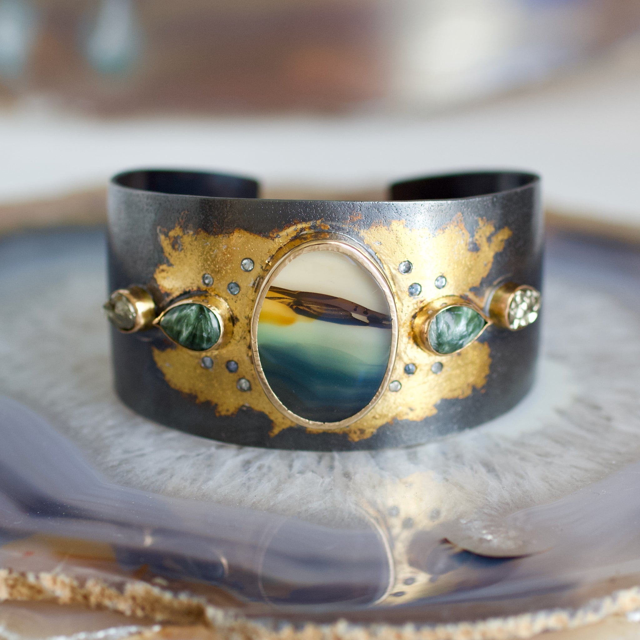 Landscape Agate and Montana Sapphire Cuff Bracelet, Handmade  in 14k Gold and Sterling Silver