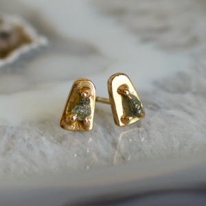 Raw Sea Foam Green & Blue Montana Sapphire Stud Earrings, Handmade in 14k Gold