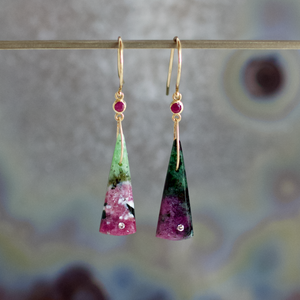 Ruby in Zoisite, Ruby, and Diamond Earrings, Handmade in 14k Gold