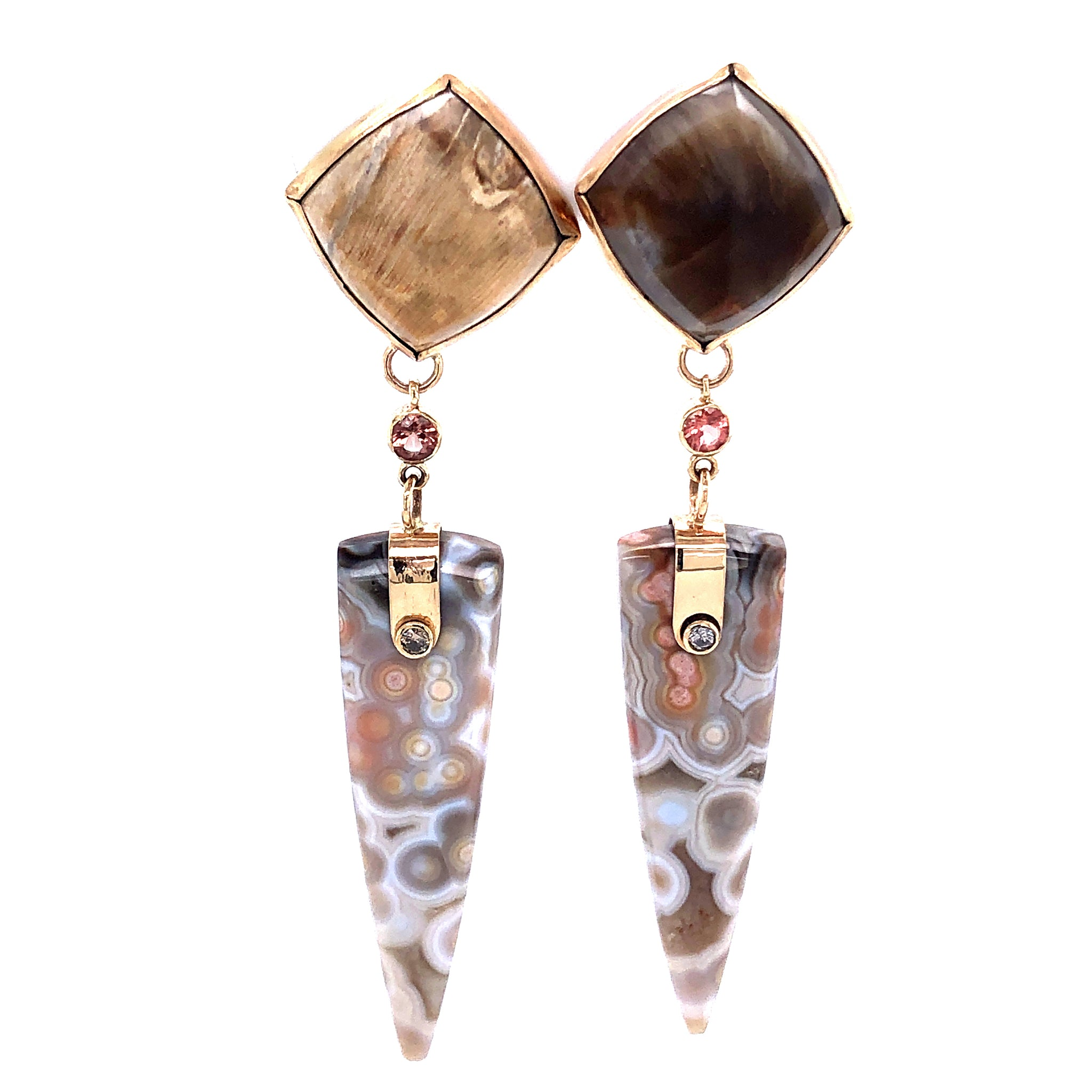 Sunstone, Ocean Jasper, and Petrified Wood Earrings, Handmade in 14k Gold