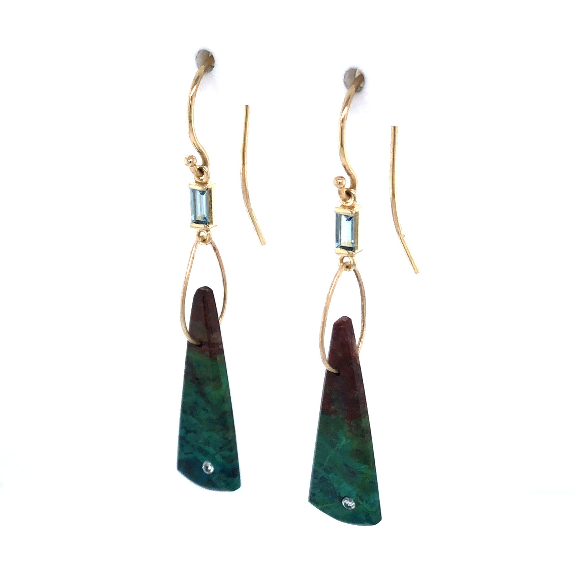 Parrot Wing, Aquamarine, and Diamond Earrings, Handmade in 14k Gold