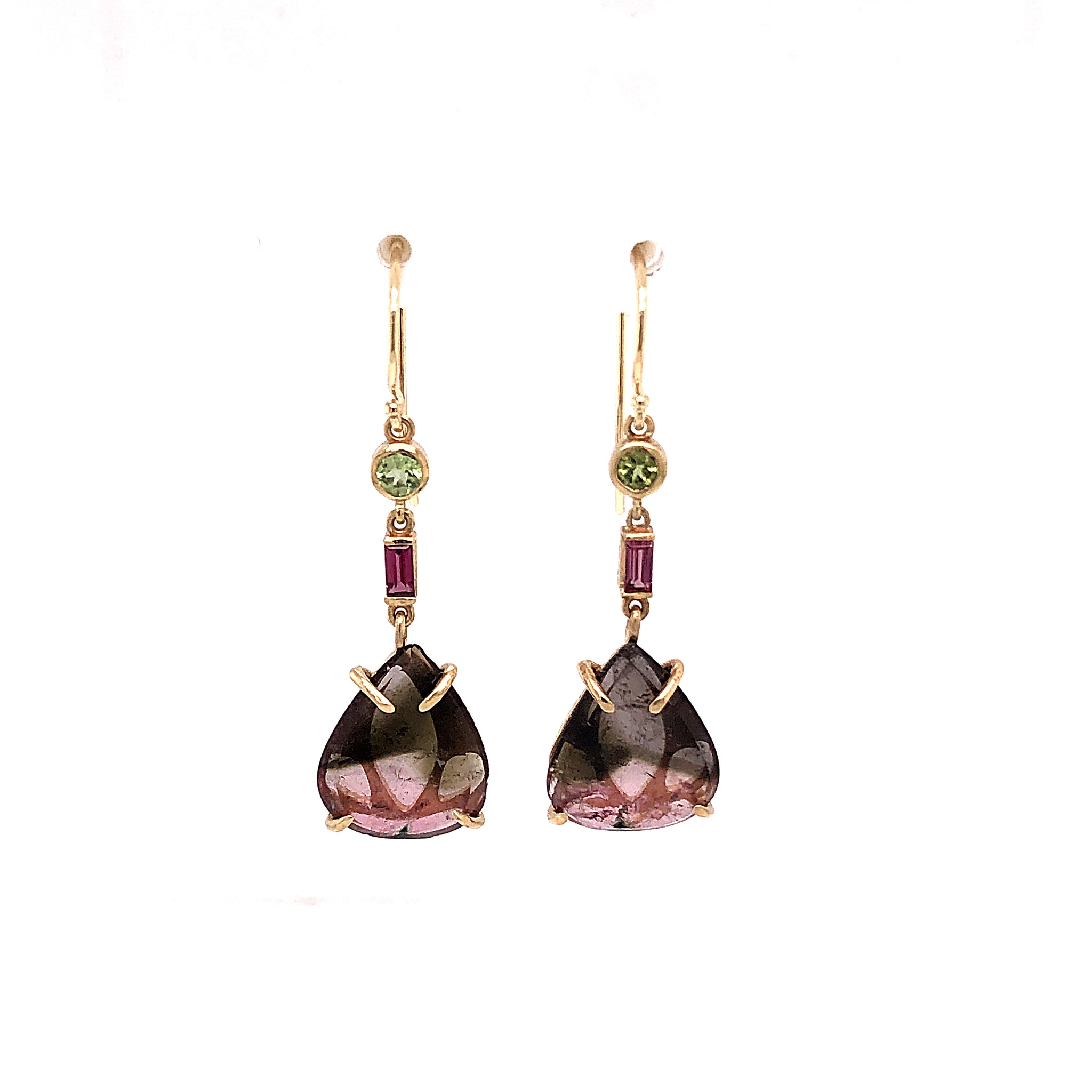 Tourmaline and Peridot Earrings, Handmade in 14k Gold (One-of-a-Kind)
