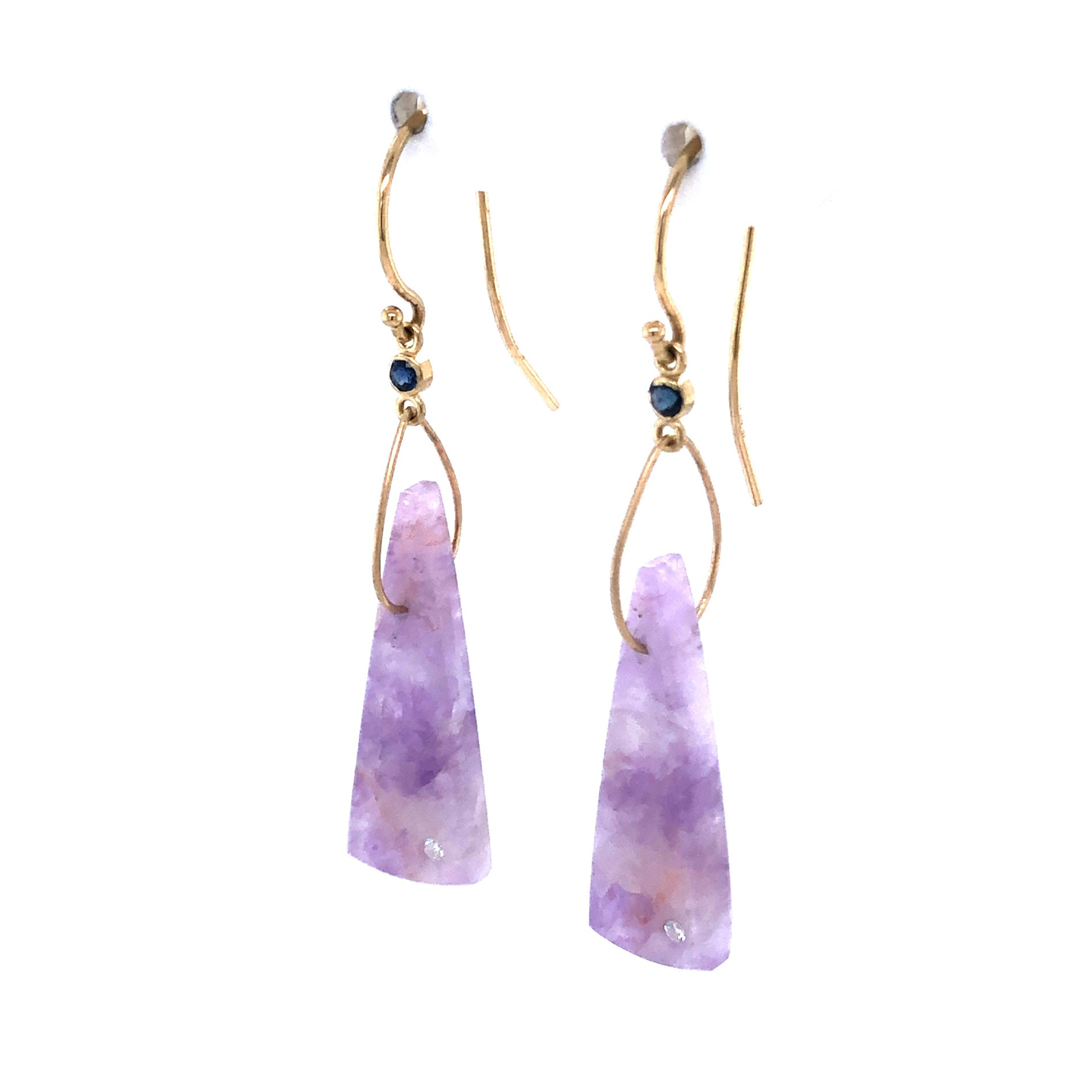 Amethyst, Sapphire, and Diamond Earrings, Handmade in 14k Gold