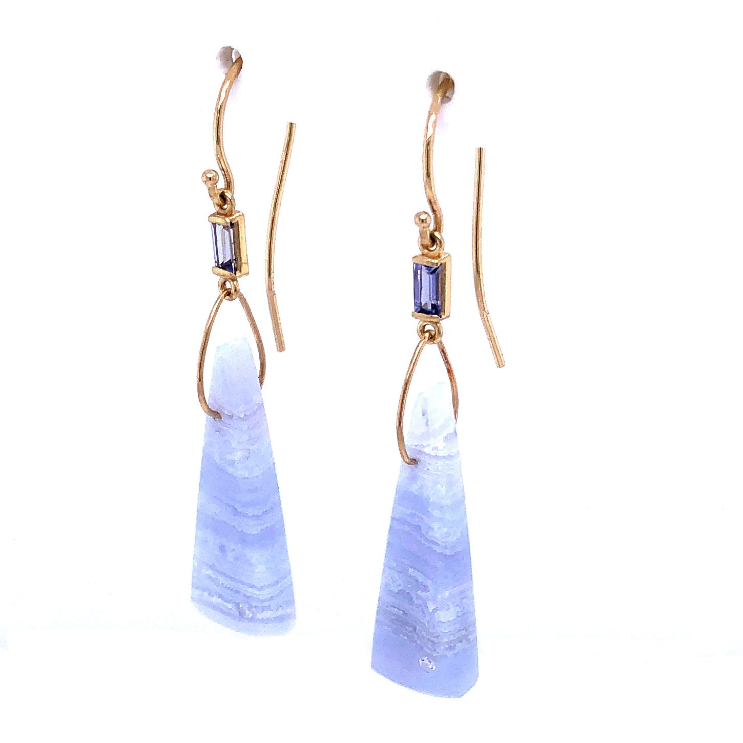Tanzanite, Blue Lace Agate, and Diamond Earrings, Handmade in 14k Gold