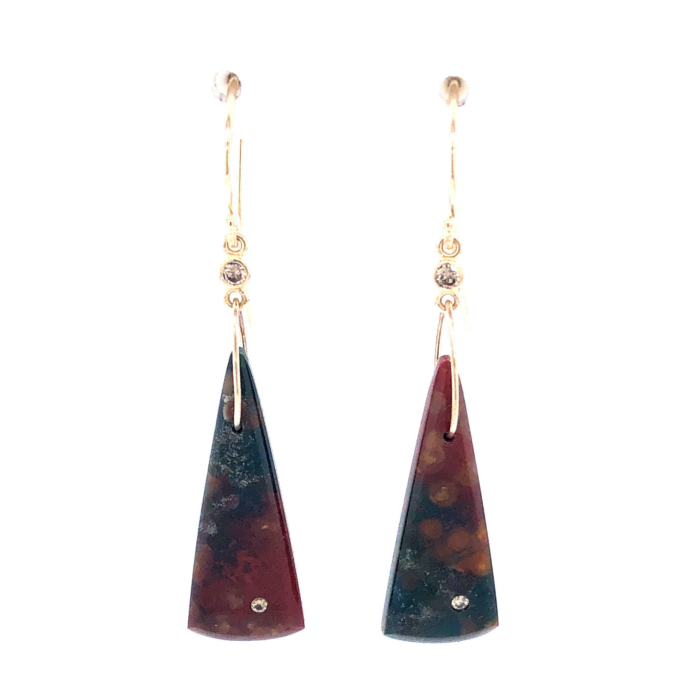 Bloodstone and Diamond Earrings, Handmade in 14k Gold