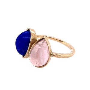Double Pear Stone Ring, Handmade in 14k Gold (Customizable)