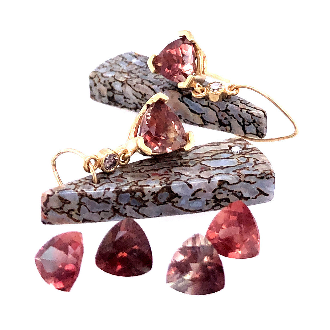 Sunstone, Dinosaur Bone, and Diamond Earrings, Handmade in 14k Gold