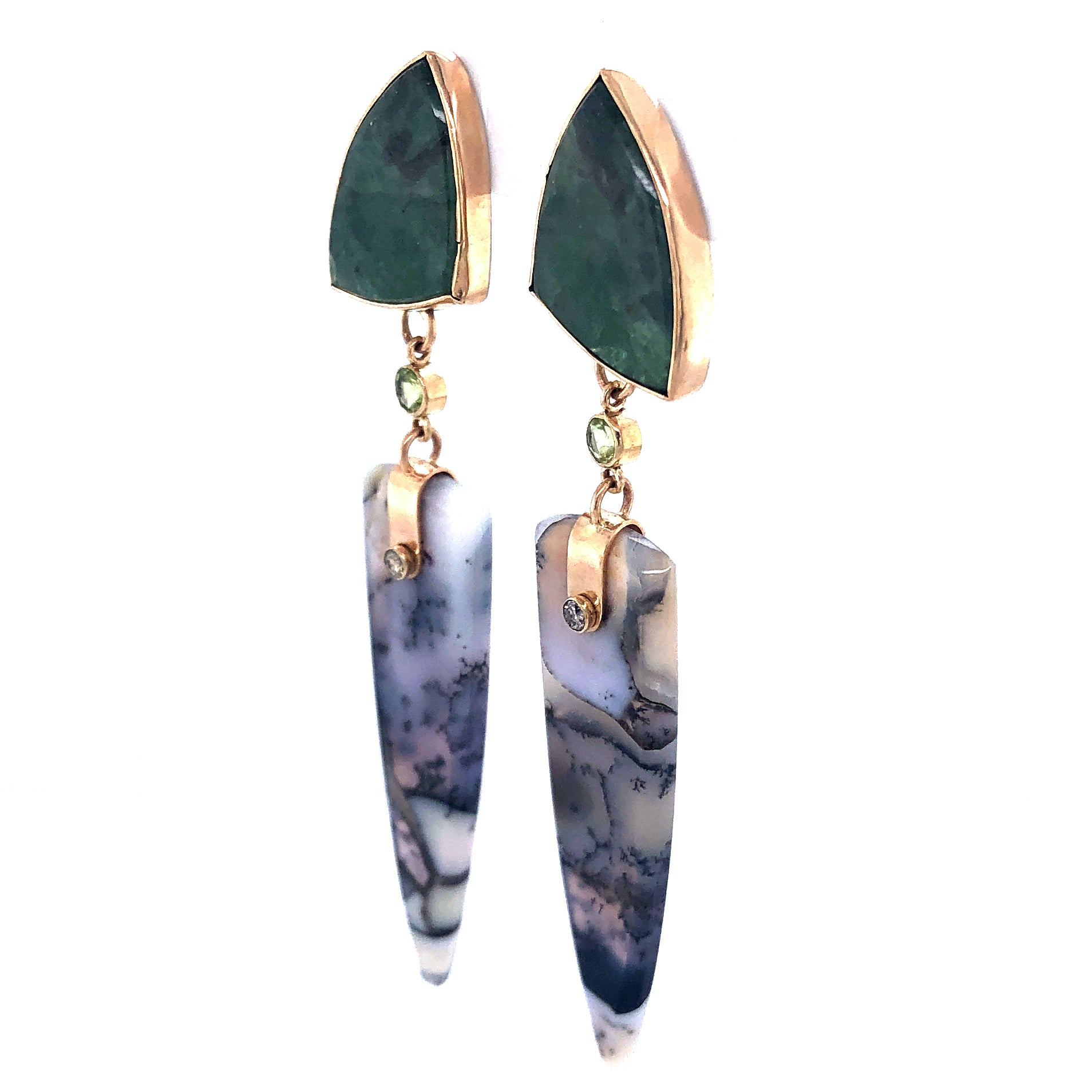 Emerald, Peridot, Dendritic Opal Earrings, Handmade 14k Gold