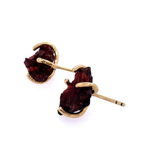 Raw Spessartine Garnet Studs, Handmade in 14k Gold