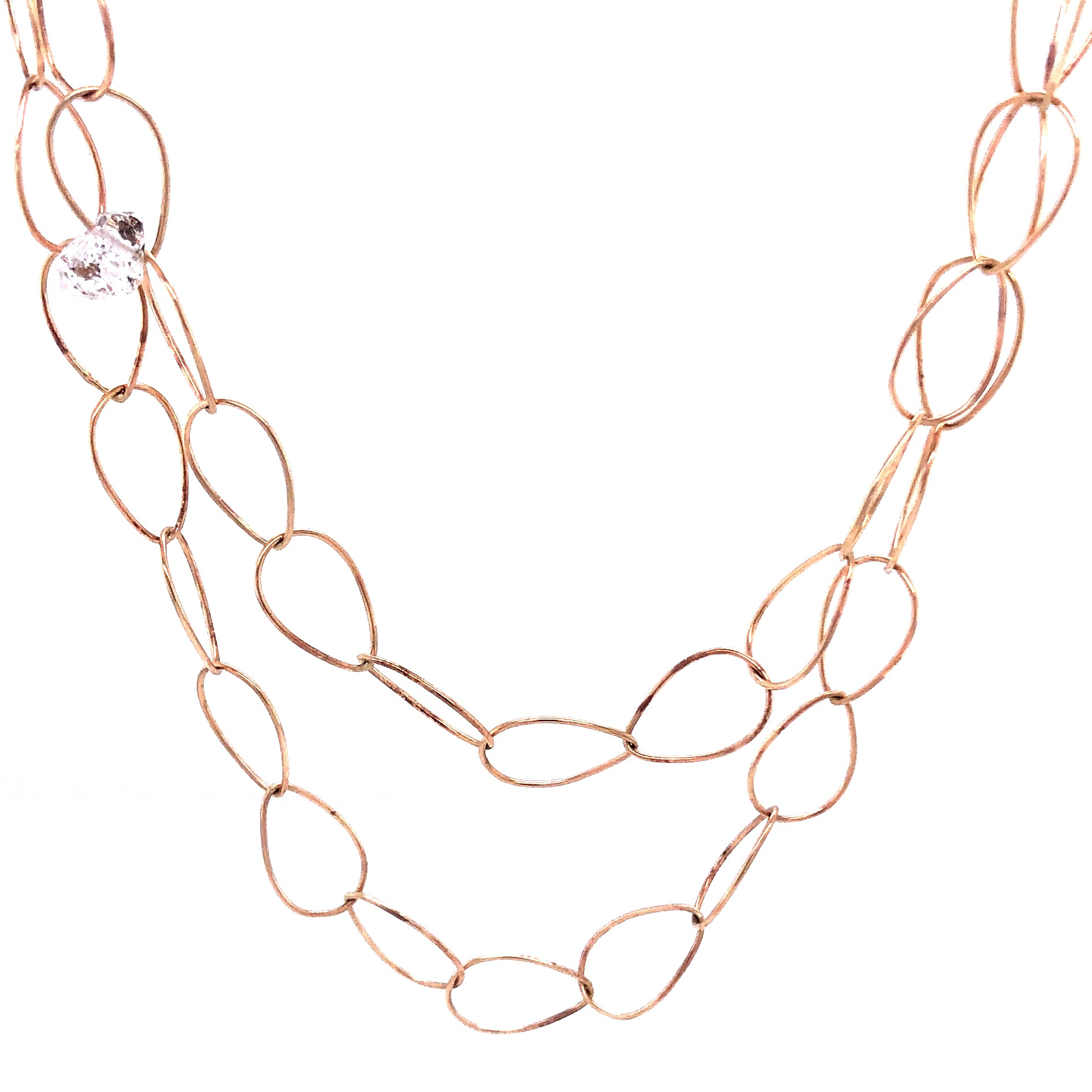 Delicate Gold Pear Link Chain Necklace with Herkimers, Handmade 14k Gold