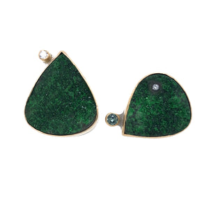 Uvarovite Garnet, Montana Sapphire, and Diamond Stud Earrings, Handmade in 14k Gold