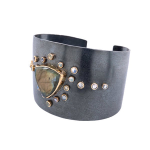 Labradorite Cuff Bracelet, Handmade  in 14k Gold and Sterling Silver