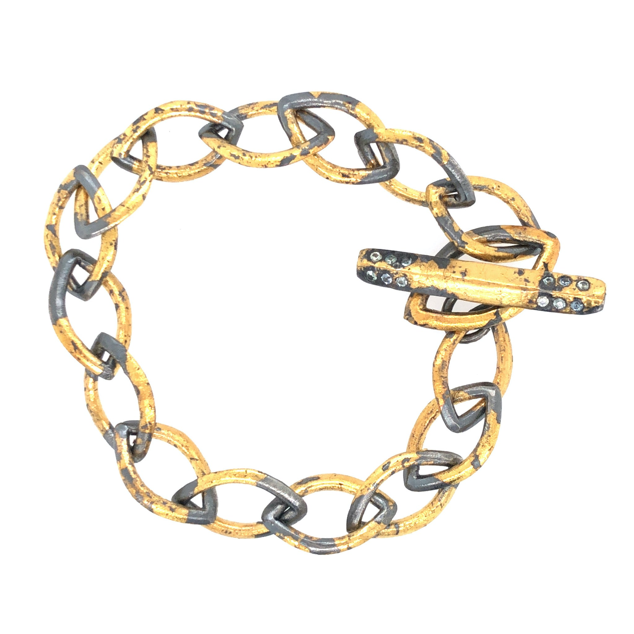 Gold Keumboo Marquise Link Bracelet with Montana Sapphire, Handmade in Sterling Silver