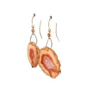 Sapphire and Montezuma Agate Slice Earrings, Handmade 14k Gold