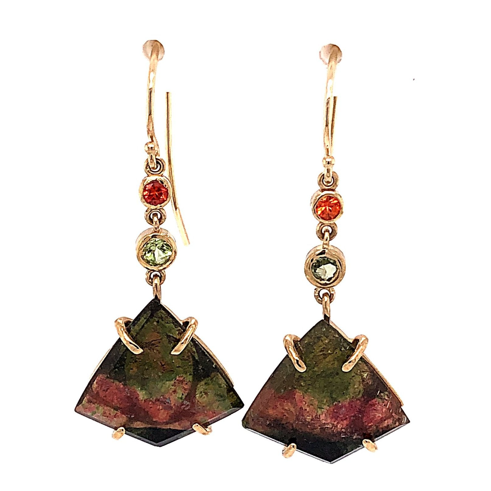 Tourmaline, Sapphire, Peridot Earrings, Handmade in 14k Gold (One-of-a-Kind)
