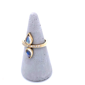 Double Pear Moonstone Ring with Diamonds, Handmade  in 14k Gold