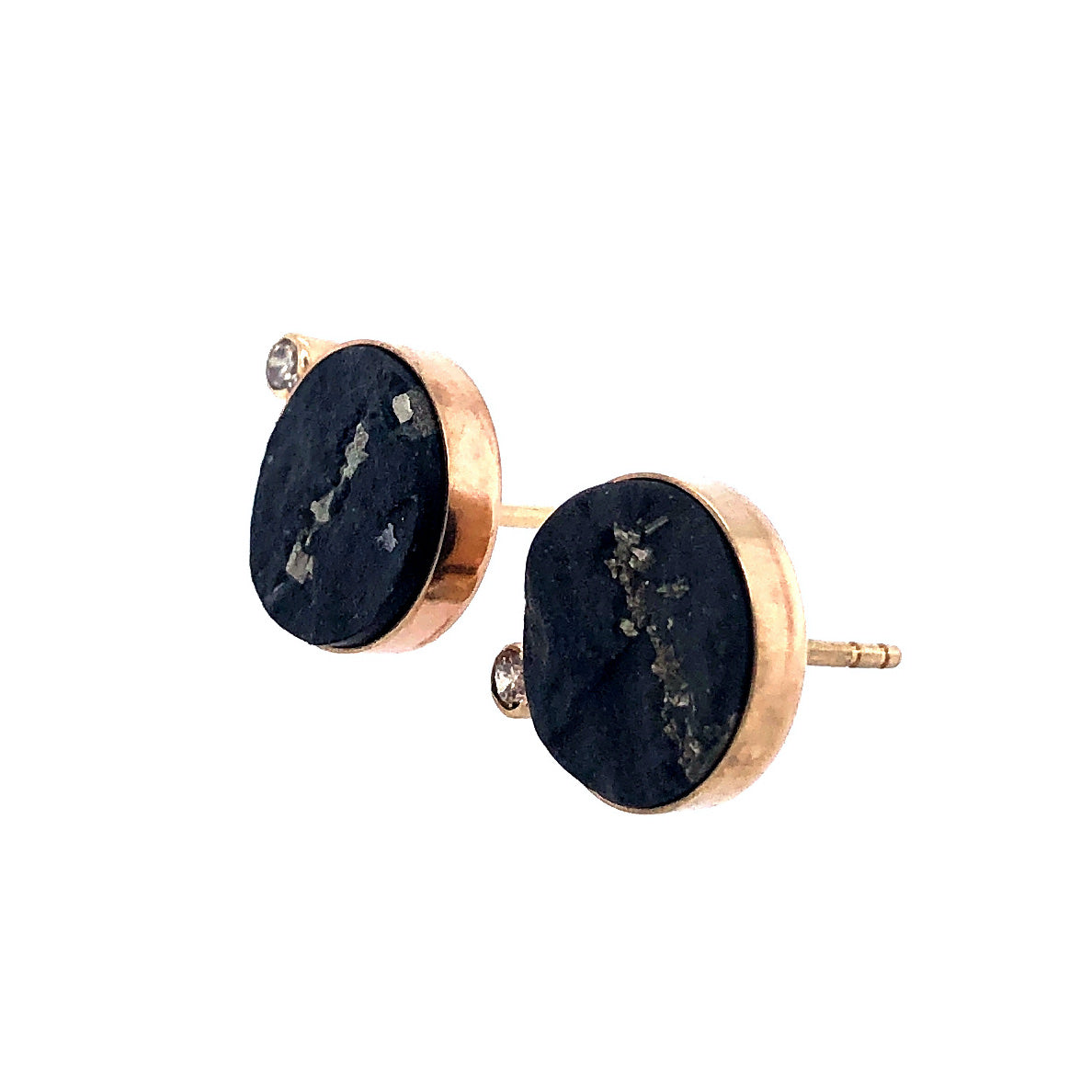 Pyrite and Diamond Stud Earrings, Handmade in 14k Gold