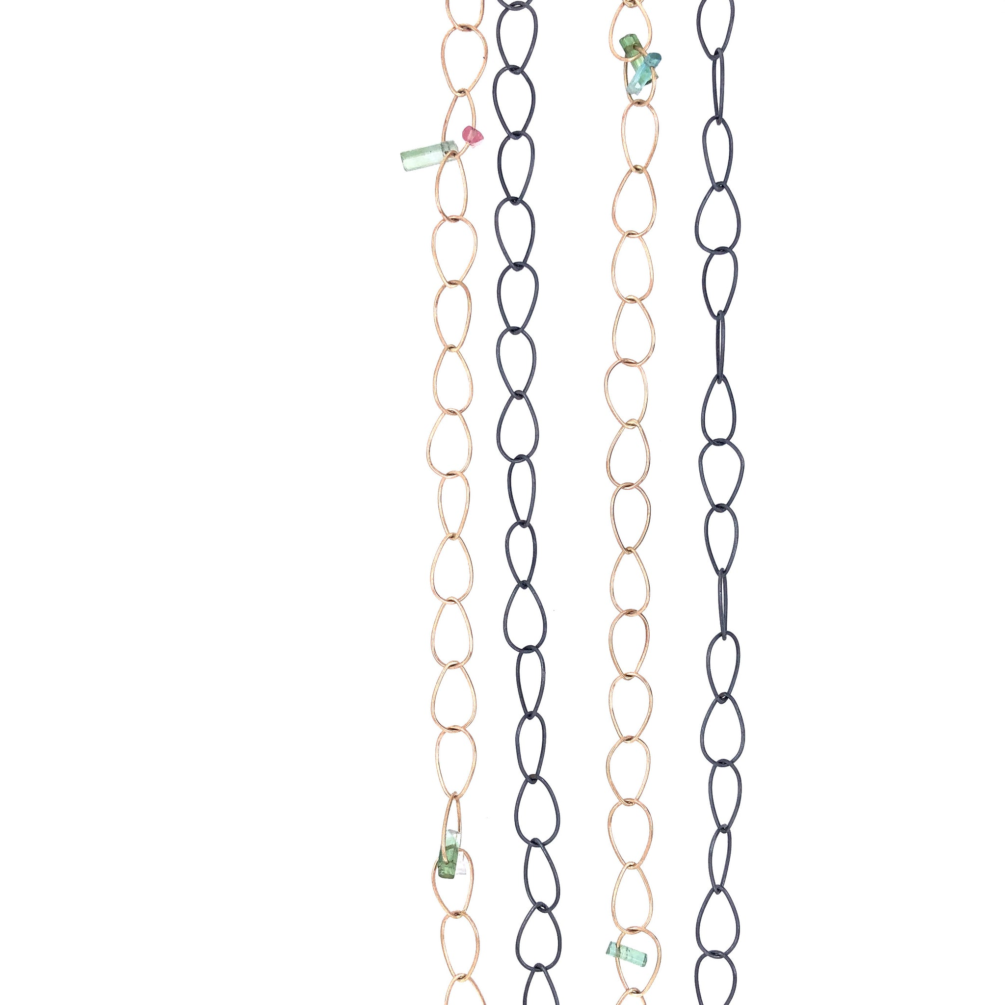 Mixed Metals Pear Link Chain Necklace with Tourmaline, Handmade 14k Gold