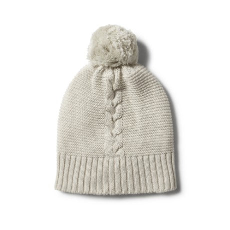 Cable Knit Hat - Ice Grey