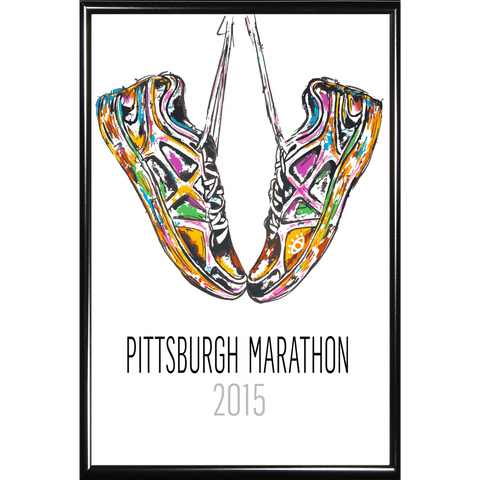 Commemorative 2015 DICK'S Sporting Goods Pittsburgh Marathon Poster by local artist Baron Batch