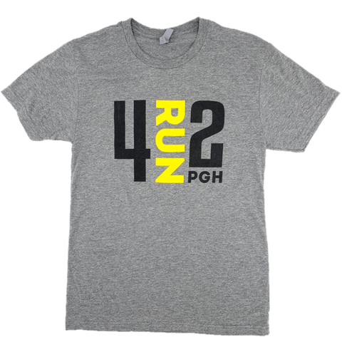 4RUN2 Grey Soft Tee: Black and Gold