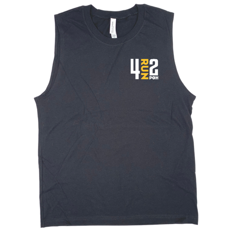 Men's 4RUN2 Tank: Black Cotton