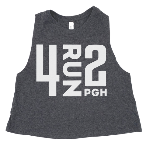 Women's 4RUN2 Crop Tank: Grey
