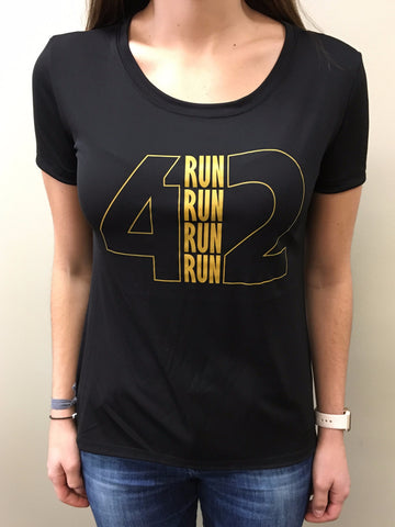 4RUN2 - Black and Gold Performance Tee