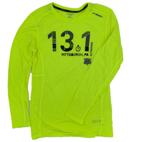 Men's 13.1 In-Training Long: Brooks Distance Long Sleeve (Neon)
