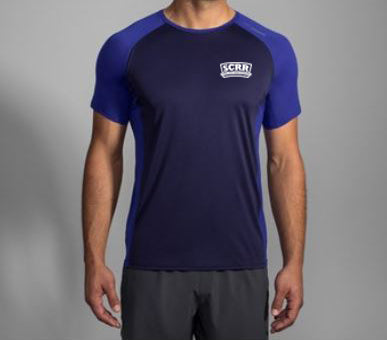 SCRR Men's Navy Running Short Sleeve