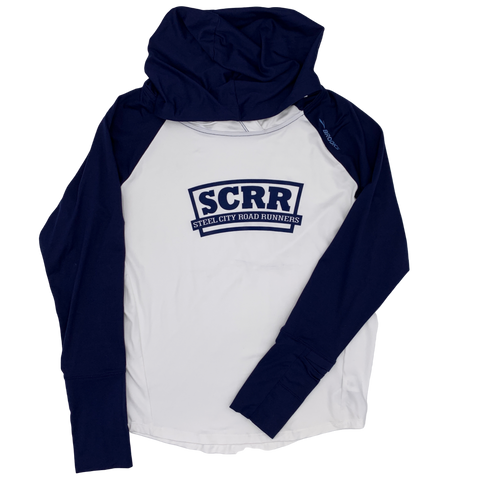 SCRR Women's Navy and White Tech Hoodie