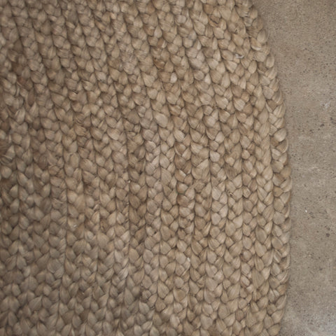 Madras Link Jute Natural Braided Round Rug 180cm