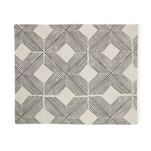 Ivory By Madras Link Manila Natural/Black Placemats Set of 4