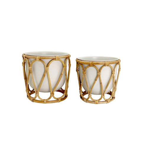 Madras Link Wembley White Rattan Planter Set of 2