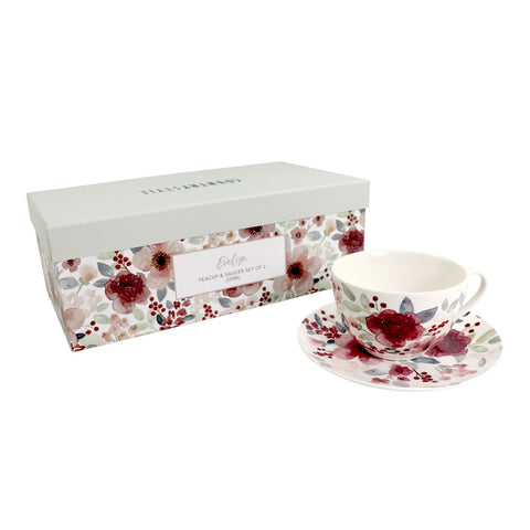 Country Style Evelyn Teacup & Saucer Set of 2