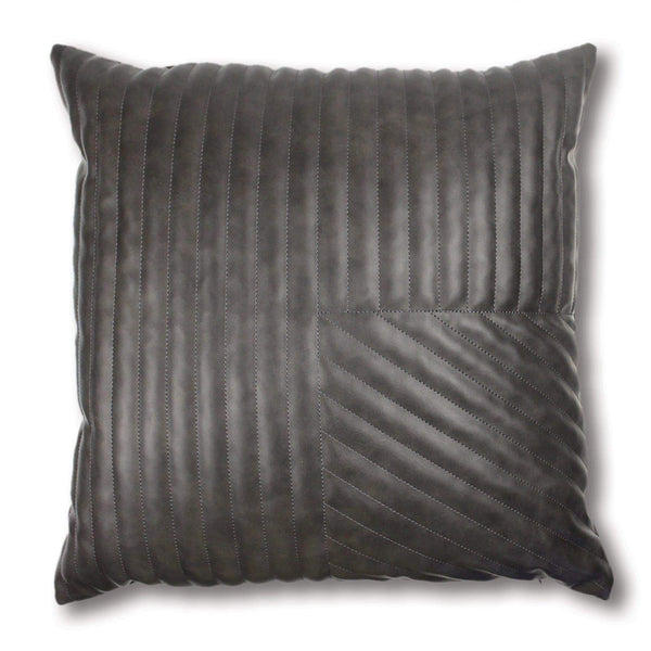 Ivory By Madras Link Milan Charcoal Quilted Leather Look Cushion 50cm