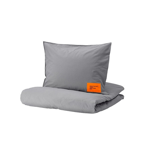 VIRGIL ABLOH X IKEA MARKERAD BEDDING (FULL/QUEEN) GREY (DUVET COVER + 2 PILLOWCASE)