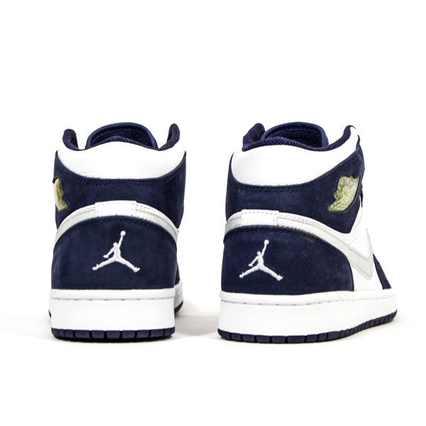 "AIR JORDAN 1 RETRO 2001 ""WHITE/METALLIC SILVER-MIDNIGHT NAVY "" 136065-101"