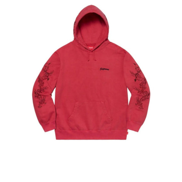 SUPREME DRAGON OVERDYED HOODED SWEATSHIRT RED SS20