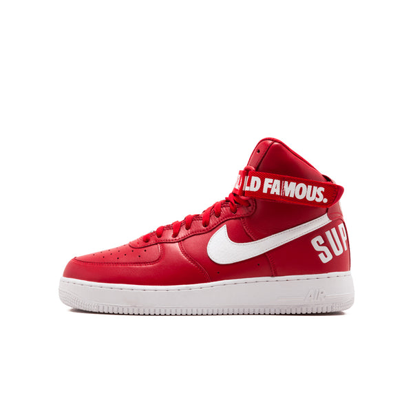 SUPREME X NIKE AIR FORCE 1 HIGH WORLD FAMOUS RED 2014