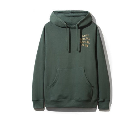 ANTI SOCIAL SOCIAL CLUB BLINDED BACK HOODIE GREEN (WITH GOLD GLITTER)