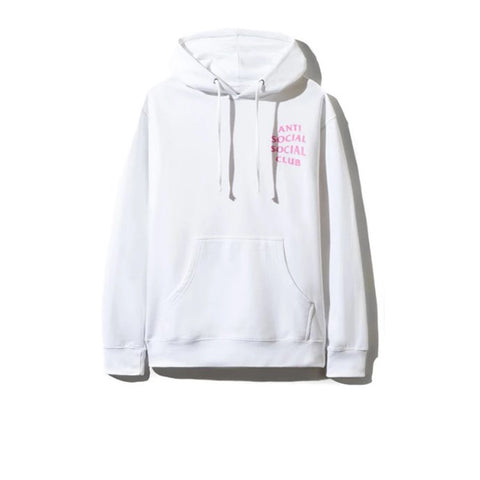 ANTI SOCIAL SOCIAL CLUB BLINDED BACK HOODIE WHITE (WITH PINK GLITTER)