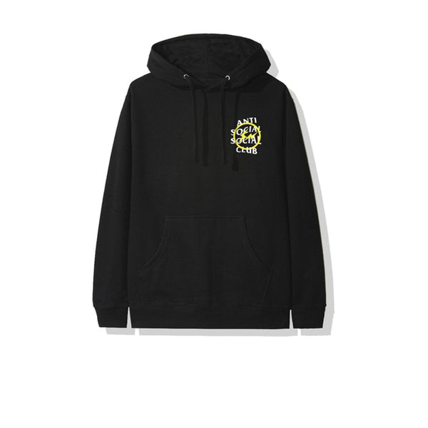 FRAGMENT X ANTI SOCIAL SOCIAL CLUB YELLOW BOLT HOODIE BLACK FW19