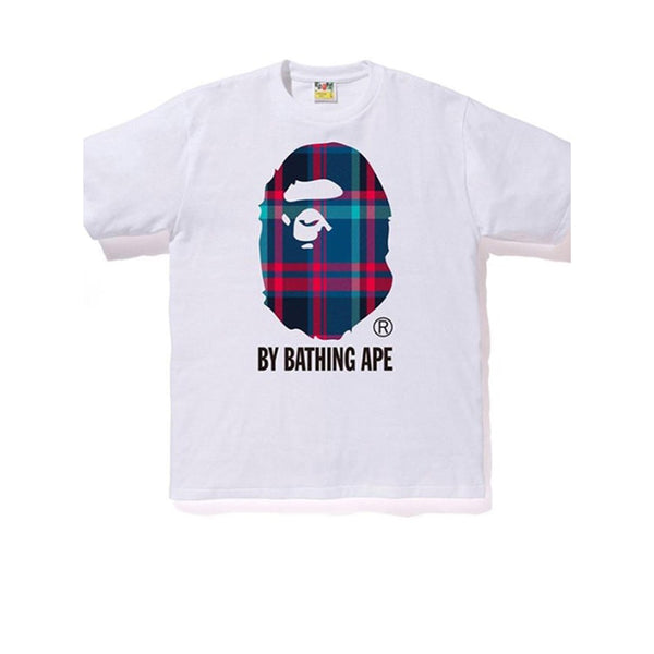 BAPE A BATHING APE CHECK BY BATHING TEE WHITE NAVY