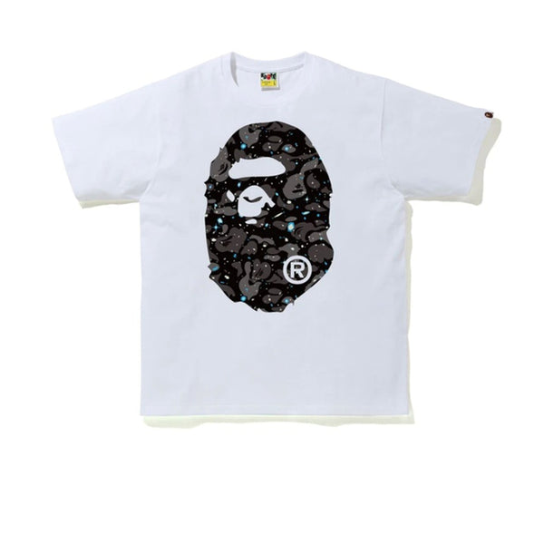 BAPE A BATHING APE SPACE CAMO BIG APE HEAD TEE WHITE