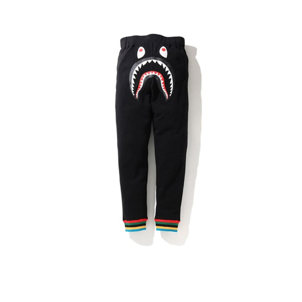 BAPE SHARK LINE RIB SLIM SWEATPANTS BLACK