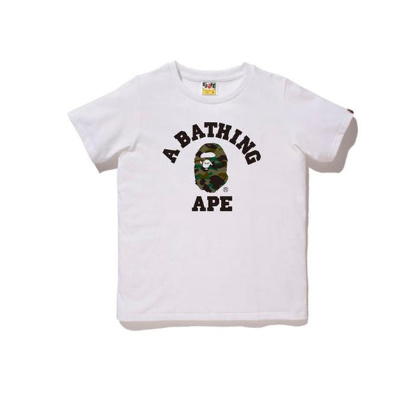 BAPE 1ST CAMO COLLEGE TEE WHITE GREEN