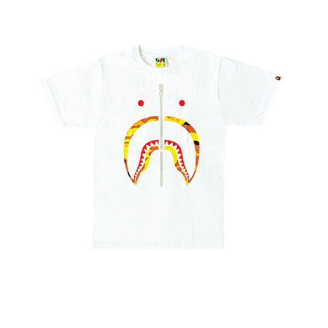 BAPE 1ST CAMO SHARK TEE WHITE/ORANGE